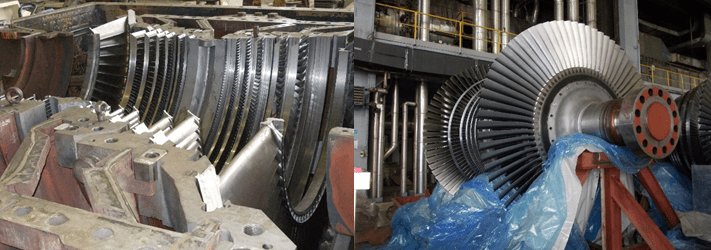 Typical Power Plant LP Turbine Casing and Double Flow Rotor