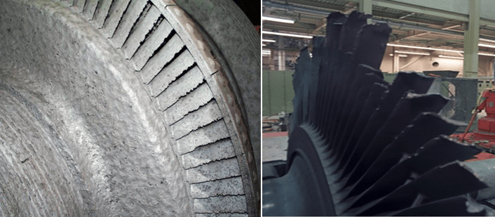 Water Damaged Turbine Moving Blades