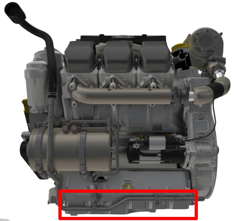 Location of Engine Oil Sump