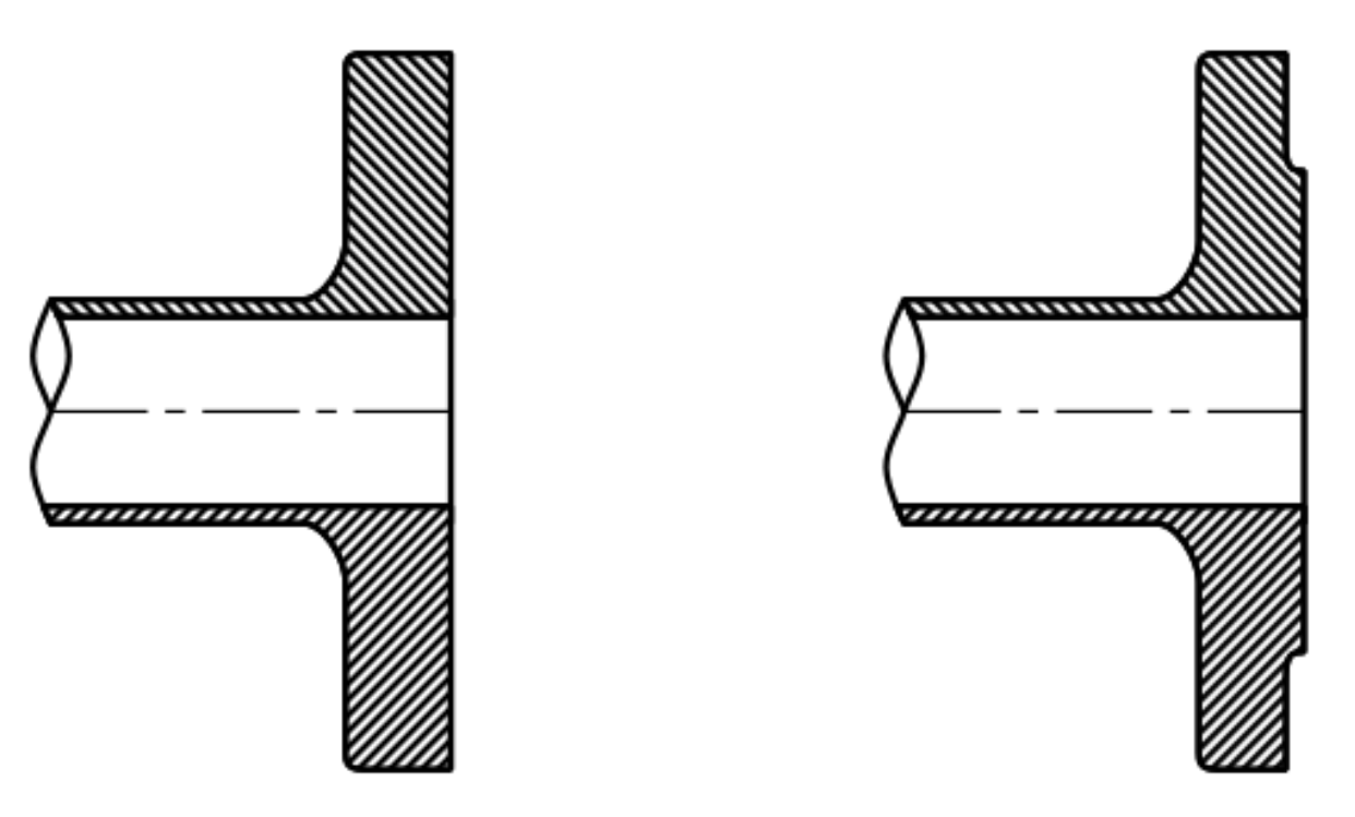 Flat Face Flange (left) and Raised Face Flange (right)